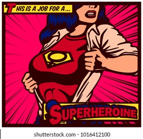Pop art comics style female superheroine tearing shirt and wearing superhero costume with female gender symbol vector illustration