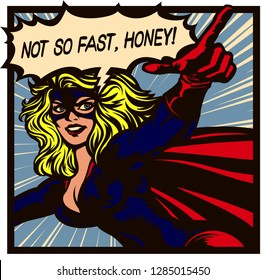 Pop art comics style superheroine with pointing finger and speech bubble female superhero vector poster illustration