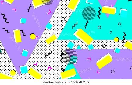 Pop Art Composition. Lavender Flow Pattern. Pop Art. Lemon Banner. Funky Poster. Lilac Textile Artwork. Aqua Drawing. Vintage Design.