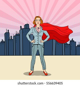 Pop Art Confident Business Woman Super Hero in Suit with Red Cape. Vector illustration