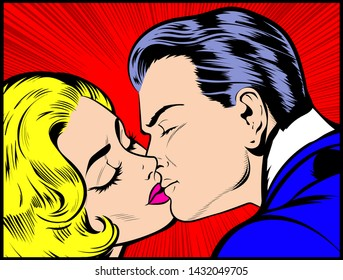 Pop Art couple kissing. Hollywood movies scene of true feelings between passionate sexy couple kissing. Pop Art Vintage Vector Illustration, Comic Book retro style