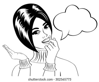pop art cute retro woman in comics style in black and white, vector illustration