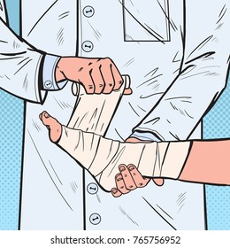 Pop Art Doctor Bandaging Patient Leg in Hospital. Medical Care. Ankle Injury. Vector illustration
