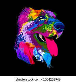 Pop art dog. Vector illustration colorful dog muzzle.