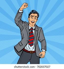 Pop Art Excited Businessman Celebrating Business Success. Vector illustration