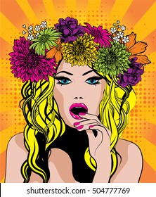 Pop Art Excited Woman with Flower Crown.. vector illustration.