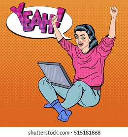 Pop Art Excited Young Woman with Laptop and Hands Up. Vector illustration