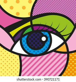 POP ART Eyes Vector Illustration.