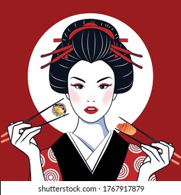 Pop art face. Young beautiful Japanese woman with open mouth holding chopsticks with roll in form of heart in her hand. Vector illustration in retro comic style. An advertisement poster