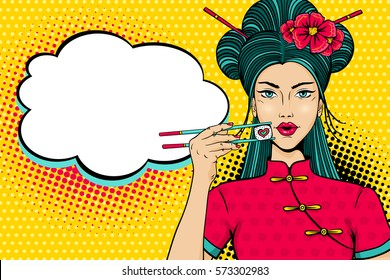 Pop art face. Young sexy asian woman with open mouth holding chopsticks with roll in form of heart in her hand and empty speech bubble. Vector illustration in retro comic style. Invitation poster