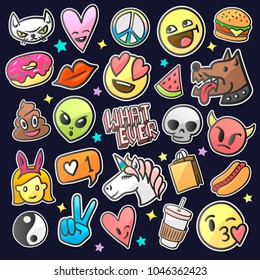 Pop art fashion chic patches, pins, badges and stickers, vector illustration.