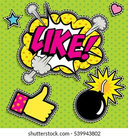 """Pop art fashion chic patches, badges, pins and stickers. vector illustration. """"Like!""""."""