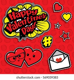 "Pop art fashion chic patches, badges, pins and stickers. vector illustration. ""Happy Valentines Day!""."