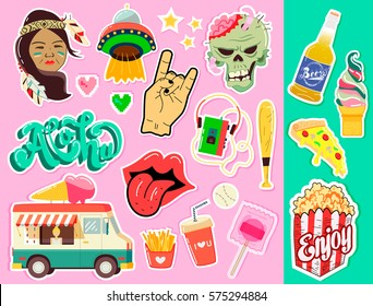 Pop art fashion chic patches, pins, badges and stickers. Hand Drawn Vector. Hipster American Fashionable California Collection. Doodle Pop art Sketch Badges and Pins.Element of design. Cartoon style.