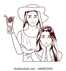 Pop art fashion women friends smiling with accesories cartoon ,vector illustration graphic design.