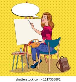 Pop Art Female Artist Painting at the Studio. Woman Painter in Workshop. Vector illustration