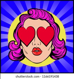 Pop Art female face. Sexy young woman  wearing heart shaped sunglasses. Vector bright background in  retro comic style –  stock illustration