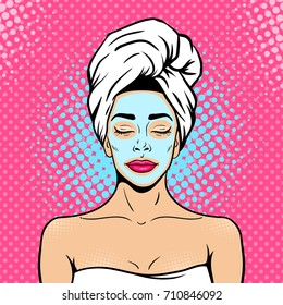 Pop art female face. Sexy young woman with closed eyes in bath towel with cosmetic mask on her face smiling and relaxing. Vector bright background in pop art retro comic style.