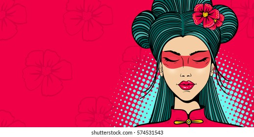 Pop art female face. Young sexy asian woman with eyes closed in a sling and flowers on her head on flower and halftone background. Vector illustration in retro comic style. Party invitation poster