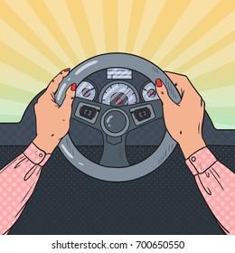 Pop Art Female Hands on Car Wheel. Safe Driving. Vector illustration