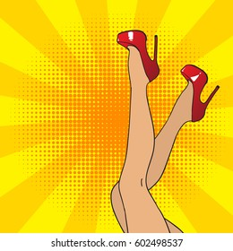 Pop art female legs in red shoes on high heels. Comic style