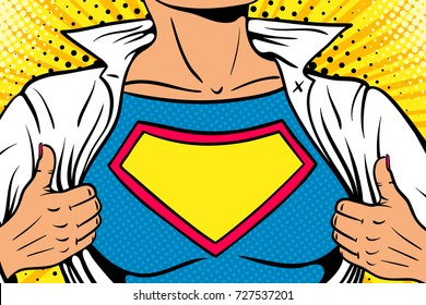 Pop art female superhero. Closeup of sexy woman dressed in white jacket shows superhero t-shirt empty sign on the chest. Vector illustration in retro pop art comic style. Pop art background.