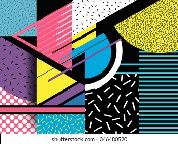 pop art. geometric elements. Traditional geometric motif in vector. many colors