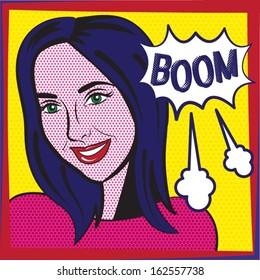 Pop Art Girl / Boom Explosion Vector