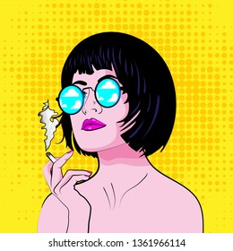 pop art girl with sunglasses. Pop Art Woman with cigarette. vector illustration