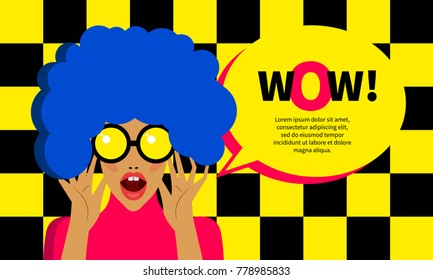 Pop art girl surprised. Woman with bright makeup opened her mouth. Retro banner with bubble, advertising discount, sale, promo. Vector illustration