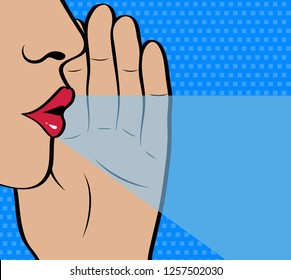 Pop Art gossip girl whispering  secrets. Mouth, lips and hand close up. Vector illustration in comic style.