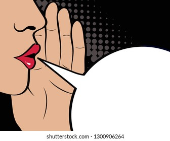 Pop Art gossip girl whispering  secrets. Mouth, lips and hand close up. Speech bubble blank for text. Black Friday Poster. Vector illustration in comic style.