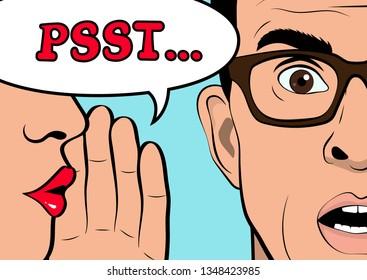 Pop Art gossip girl whispering  secret to man. The man is shocked. Pop Art Vector illustration.