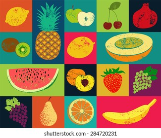 Pop Art grunge style fruit poster. Collection of retro fruits. Vintage vector set of fruits.