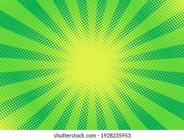 Pop art halftone background. Comic starburst pattern. Green sunburst effect. Cartoon banner with dots and rays. Vintage duotone texture. Vector illustration. Superhero banner. Gradient wow design.