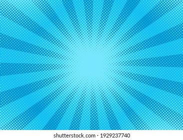 Pop art halftone pattern. Comic starburst background. Blue duotone texture. Cartoon banner with dots and rays. Vector illustration. Vintage gradient wow design. Superhero starburst wallpaper.