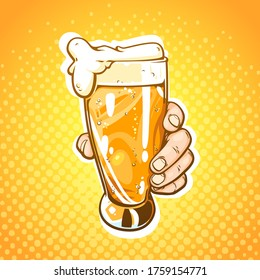 Pop art hand drawn comic illustration of human hand with glass of beer isolated on yellow background with halftone