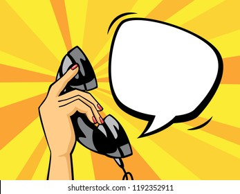 Pop art hand holding a black phone handset. Telephone with buble speech in retro coic vintage style. Flat vector illustration