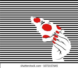Pop art hand. Striped background. Vector illustration.