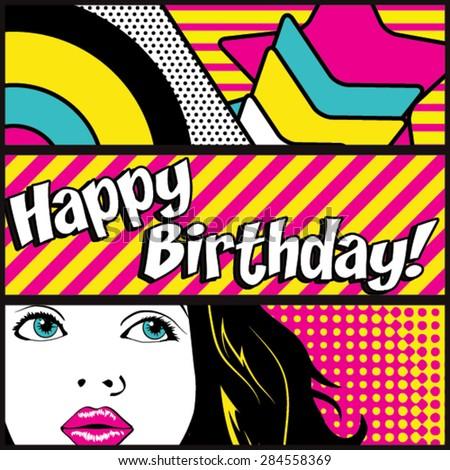 Pop Art Happy Birthday Card Vector Illustration
