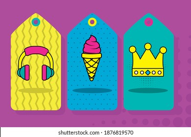 pop art headphone ice cream and crown in labels design of retro expression comic theme Vector illustration