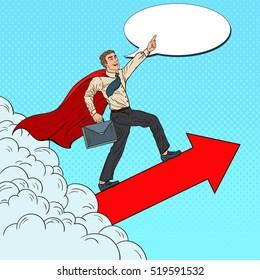 Pop Art Hero Super Businessman Flying through the Clouds. Business Motivation Leadership. Vector illustration