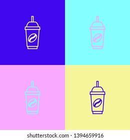 Pop art illustrtaion four styles Ice coffee vector illustration. Cold brew