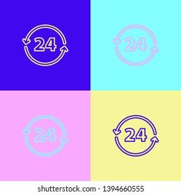 Pop art illustrtaion four styles Twenty four hour icon. Time symbol