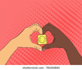 Pop art image of hands in the shape of the heart. Condom inside arms sign. The concept of love and healthcare.