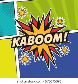 pop art kaboom texting stars colored background design
