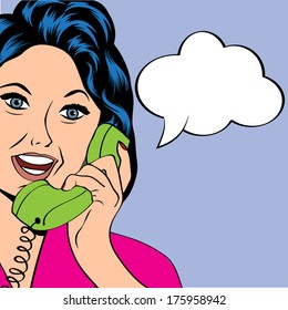 Pop Art lady chatting on the phone, vector illustration
