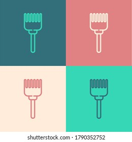 Pop art line Hairbrush icon isolated on color background. Comb hair sign. Barber symbol. Vector Illustration