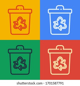 Pop art line Recycle bin with recycle symbol icon isolated on color background. Trash can icon. Garbage bin sign. Recycle basket sign.  Vector Illustration
