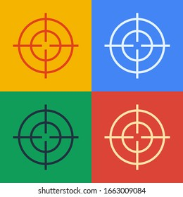 Pop art line Target sport icon isolated on color background. Clean target with numbers for shooting range or shooting.  Vector Illustration